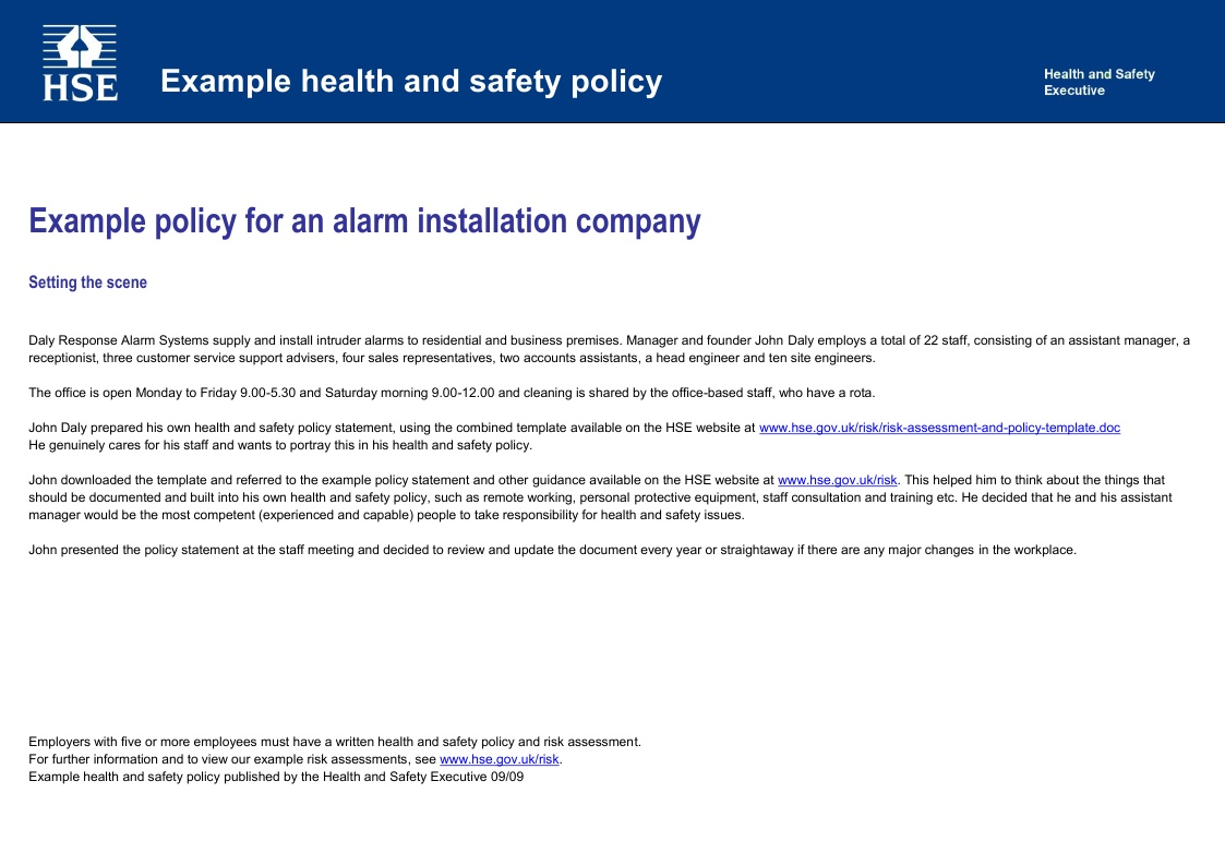 Health and Safety implications – Sample Health and Safety Policy